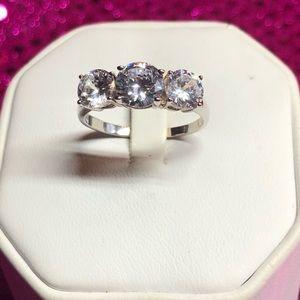 Three Stone CZ Ring Sterling Silver